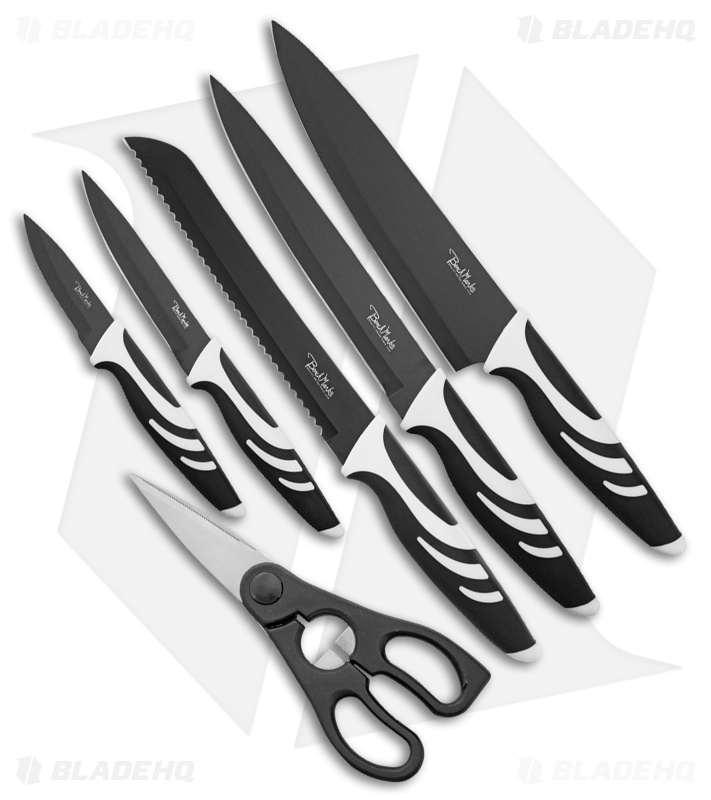 Benchmark 6-Piece Kitchen Knife Set Black/White Rubber Handles