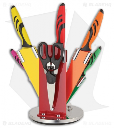 Benchmark 7-Piece Kitchen Knife Set Multi-Colored w/ Stand