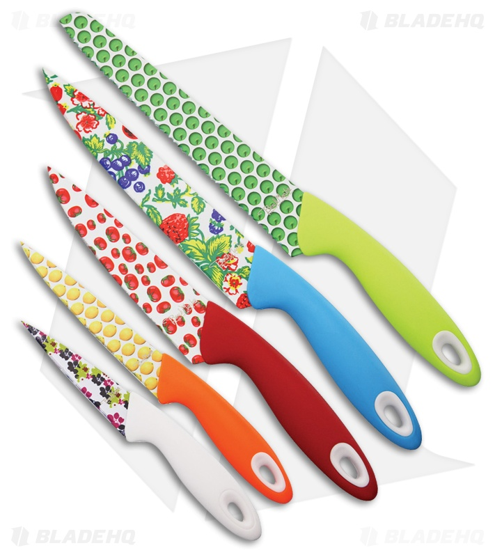 Benchmark Fruits and Vegetables 5-Piece Kitchen Set Multi-Colored Rubber