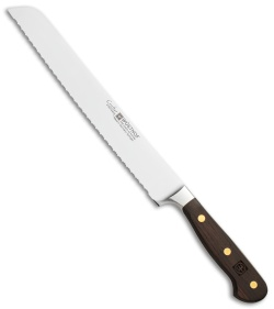 "Wusthof Crafter Double-Serrated Bread Knife Oak Wood (9"" Satin Serrated)"