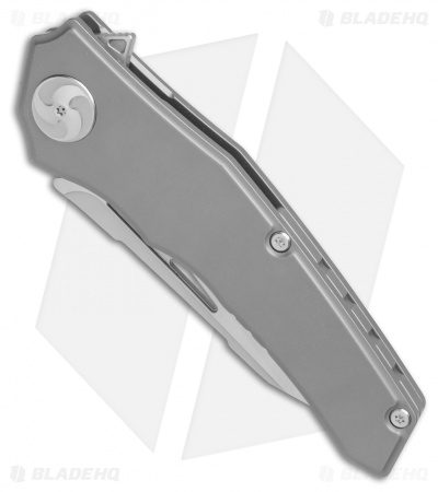 "Aiorosu Knives Elite Frame Lock Flipper Knife Sandblasted Ti (3.6"" Satin) AE01"