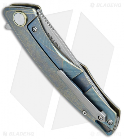 "Bestech Knives Dolphin Frame Lock Knife Green Titanium (3.375"" Stonewash)"