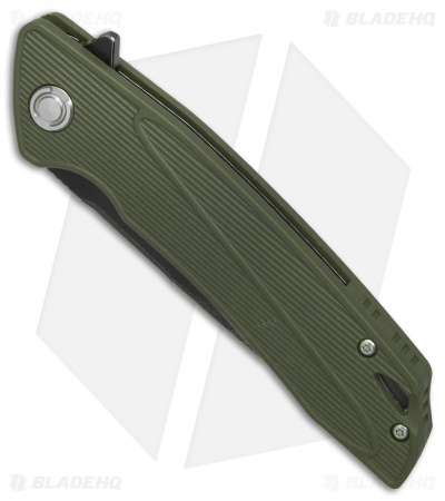 "Bestech Knives Spike Liner Lock Knife OD Green G-10 (3.5"" Satin, Black) BG09B-1"