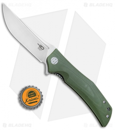 "Bestech Knives Scimitar Liner Lock Knife Green G-10 (3.75"" Satin)"