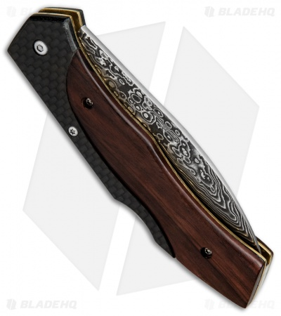 "Buck N Bear Lock Back Folding Knife Carbon Fiber/Wood (3.4"" Damascus)"