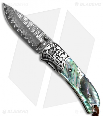 "Buck N Bear Abalone Liner Lock Folding Knife (2.5"" Damascus)"