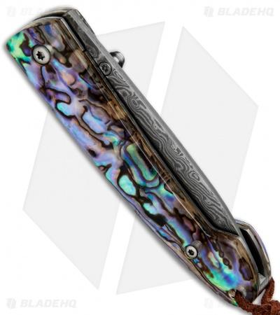 "Buck N Bear Faux Abalone Folder Liner Lock Knife (2.8"" Damascus)"