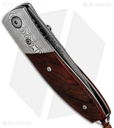"Buck N Bear Damascus Liner Lock Folding Knife Cocobolo (2.8"" Damascus)"