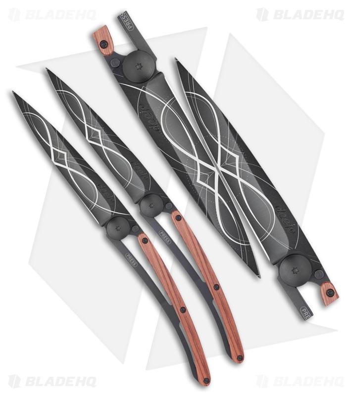 Deejo Duo Infinity 37g Ultra-Light Frame Lock Knife Set Coral Wood ...