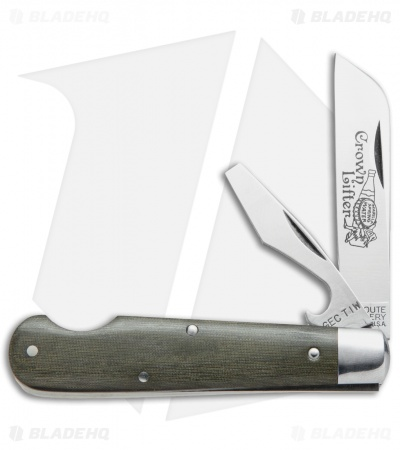 "GEC #15 Tidioute Huckleberry Crown Lifter Boy's Knife 3.5"" Grn Micarta 153216CL"