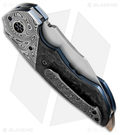 "Greg Lightfoot Custom Pit Boss Knife Damascus/Carbon Fiber (3.5"" Satin)"