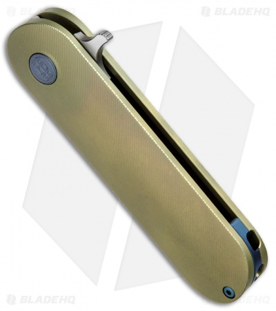 "HEAdesigns Antidote Flipper Frame Lock Knife Gold Titanium (2.625"" Bead Blast)"