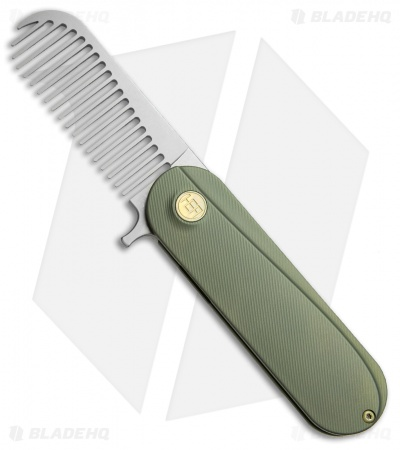 HEAdesigns Sabertooth Folding Comb Green Titanium (Bead Blast S35VN)