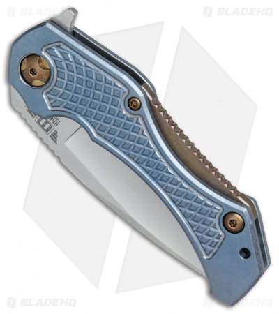 "Mikkel Willumsen Urban Tactical Tyran Flipper Knife Blue/Bronze Ti (3.6"" SW)"