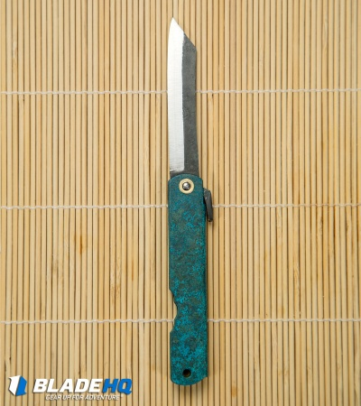 "Nagao Higonokami Koriwa Friction Folder Turquoise Brass (2.8"" Satin)"