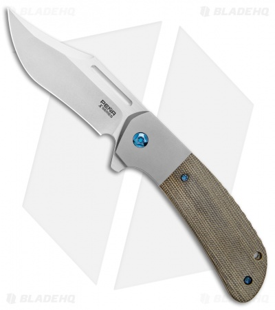 "Pena Knives X-Series Lanny's Clip Flipper Knife Green Canvas Micarta (3.25"" SW)"