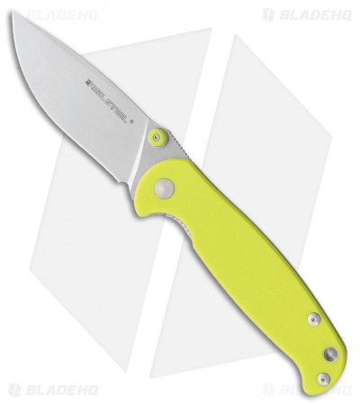 "Real Steel H6-S1 Liner Lock Knife Lime Green G-10 (3.375"" Stonewash) RS7775"