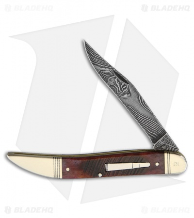 "Remington 2017 Bullet Damascus Traditional Pocket Knife 3.625"" Brown Bone"
