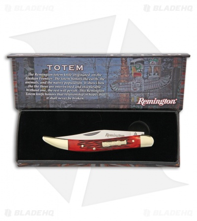 "Remington Totem Toothpick Traditional Pocket Knife 3.625"" Red Jigged Bone"