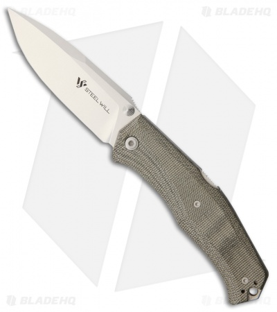 "Steel Will Knives Gekko Mini 1550 Lockback Knife Green Micarta (3.5"" Satin)"