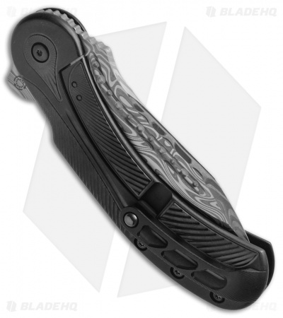"Todd Begg Steelcraft Field Marshall Knife Black Ti (4"" Grosserosen Damasteel)"