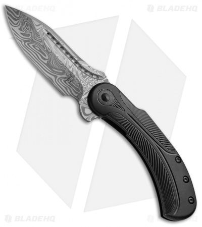 "Todd Begg Steelcraft Field Marshall Knife Black Ti (4"" Thor Damasteel)"