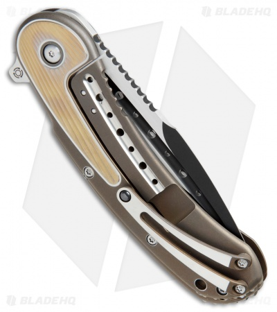 "Todd Begg Steelcraft Series Bodega Knife Gold/Bronze Fan Titanium (4"" Black)"