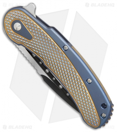 "Todd Begg Steelcraft Series Bodega Knife Blue/Gold Titanium (4"" Two-Tone)"