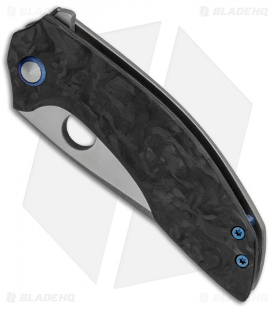 TuffKnives Geoff Blauvelt Custom Catalyst O Flipper Knife Marble CF  (Acid SW)