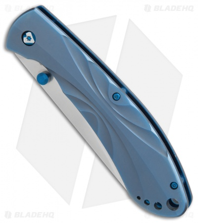 "V Nives Poseidon Liner Lock Knife Blue Titanium (3.5"" Satin)"