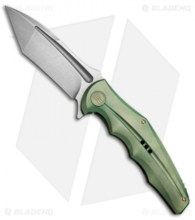 "WE Knife Co. 608B Tanto Frame Lock Knife Green Titanium (4"" Stonewash)"