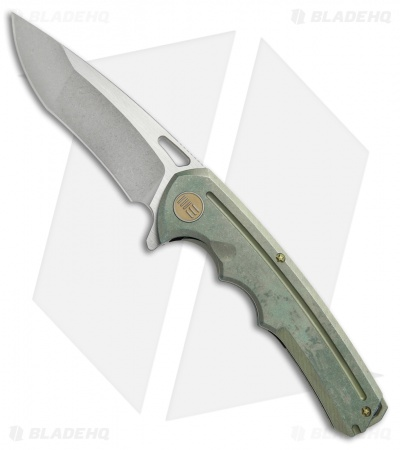 "WE Knife Co. 611F Frame Lock Knife Green Titanium (3.75"" Stonewash)"