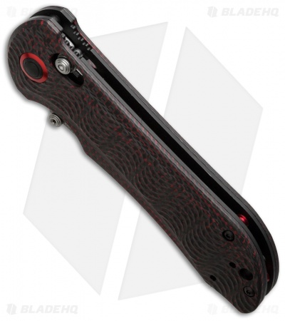"Benchmade 908-161 Stryker II AXIS Lock Knife Red/Black CF (3.57"" Damasteel) Gold"
