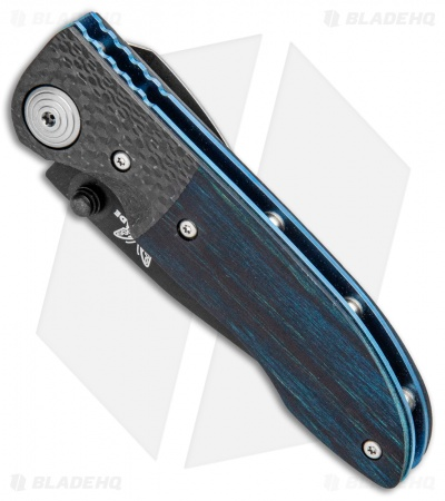 "Vintage Benchmade 690 Liner Lock Knife Blue Wood/CF (3.625"" Black) 690BTBLU"