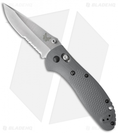 "Benchmade Griptilian AXIS Lock Knife Gray/Blue G-10 (3.45"" Satin Serr) 551S-1"