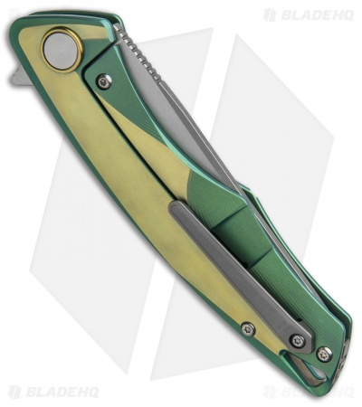 "Bestech Knives Dolphin Frame Lock Knife Green/Gold Titanium (3.375"" Stonewash)"