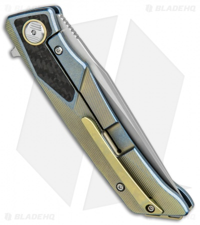 "Bestech Knives Sky Hawk Frame Lock Flipper Knife Blue/Gold CF (3.6"" Blasted)"