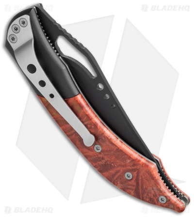 "Delta Z Osprey Liner Lock Knife Maple Burl (3.50"" Black) DZ-7130-MR"