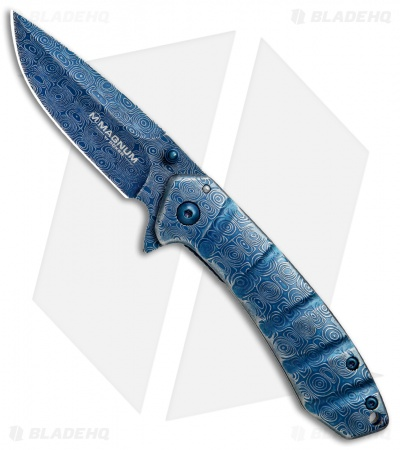 "Boker Magnum Raindrop Folder Liner Lock Knife (2.75"" Blue) 01RY825"