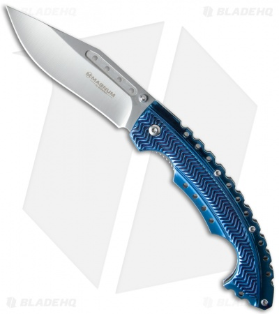 "Boker Magnum Blue Bowie Liner Lock Knife SS (3.875"" Satin) 01RY855"