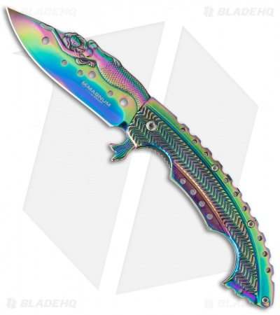 "Boker Magnum Rainbow Mermaid Liner Lock Knife (3.75"" Spectrum) 01LG318"