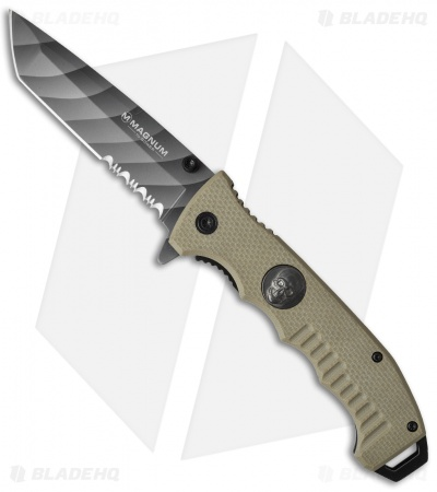"Boker Magnum Shades of Gray Liner Lock Knife Tan G-10 (3.75"" Serr) 01SC648N"