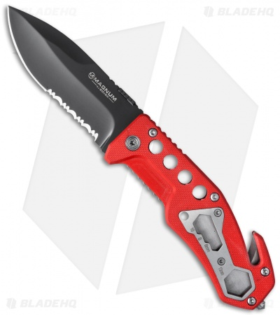 "Boker Magnum Firefighter Liner Lock Knife Red G-10 (3.5"" Gray) 01SC172"