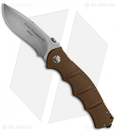 "Boker Kalashnikov KAL101 42 Tan Folding Knife (4"" Stonewashed Plain) 01KAL103"