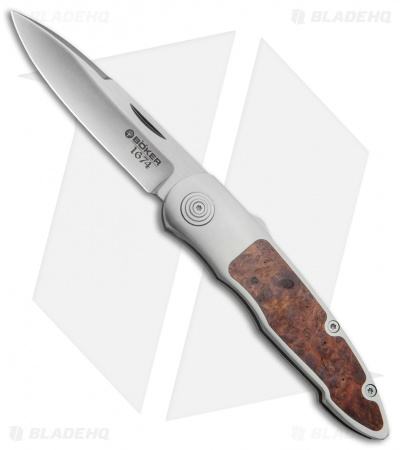 "Boker Merlin 1674 Merlin Gentleman's Knife Amboina Root Wood (2.8"" Satin) 111621"