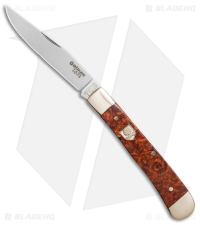 "Boker Trapper 1674 Pocket Knife 4.125""  Amboina Root Wood 112555"