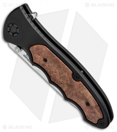 "Boker Turbine 1674 Flipper Knife Amboina Root Wood (3.875"" Satin) 110230"