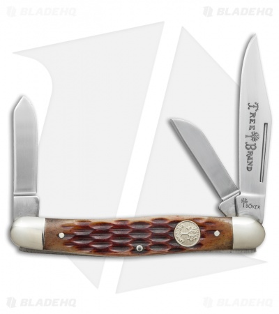 "Boker Medium Stockman Knife 3.5"" Brown Jigged Bone 110727"
