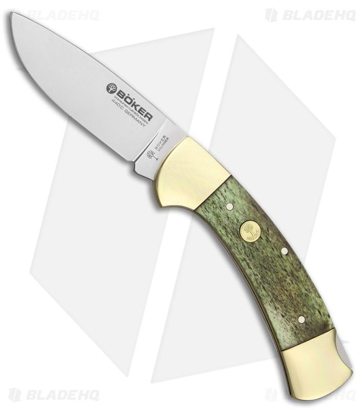Boker 3000 Green Bone Lock Back Pocket Knife (3 375 Polished) 113000