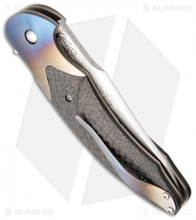"Broadwell Studios Custom Technes Folder LSCF/Blued Titanium Knife (4"" Satin)"